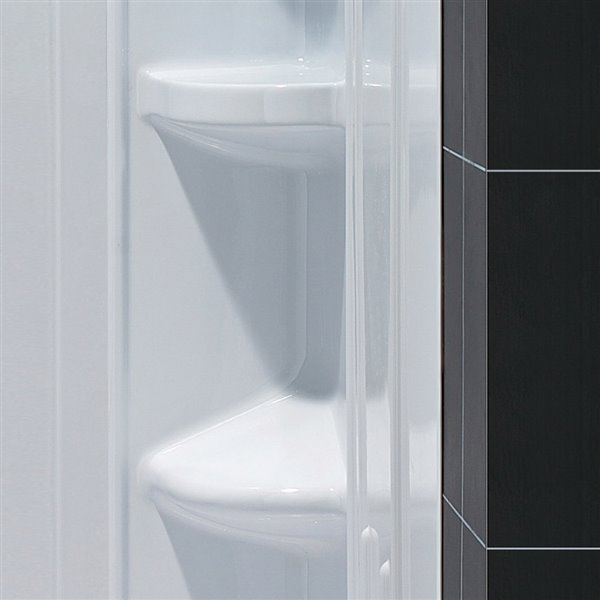 Base de douche/panneaux encadré de DreamLine QWALL-5, 60 po, blanc