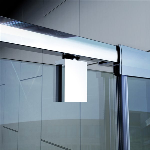 DreamLine Flex Shower Door and Base - 36-in x 36-in - Chrome