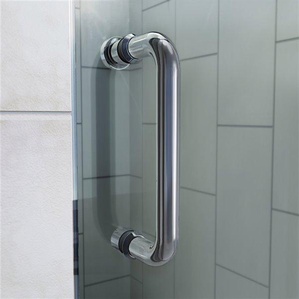 Porte douche et base de DreamLine Flex, 34 po x 60 po, nickel