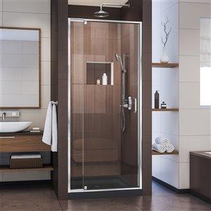 DreamLine Flex Shower Door and Base - 32-in x 32-in - Chrome