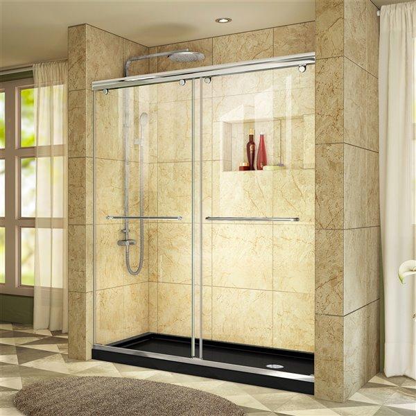 Porte douche et base de DreamLine Charisma, 60 po, chrome/noir