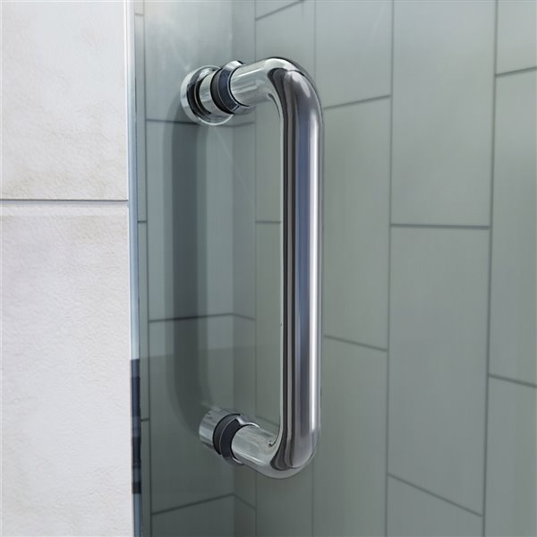 Porte douche et base de DreamLine Flex, 34 po x 60 po, chrome