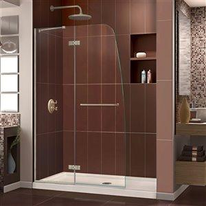 DreamLine Aqua Ultra Shower Door and Base Kit - 48-in - Nickel