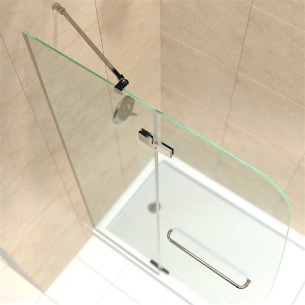Porte douche et base de DreamLine Aqua Ultra, 60 po, nickel