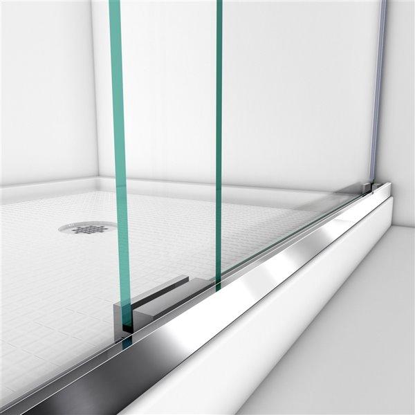 Porte douche/base acrylique de DreamLine Charisma, 60 po, nickel