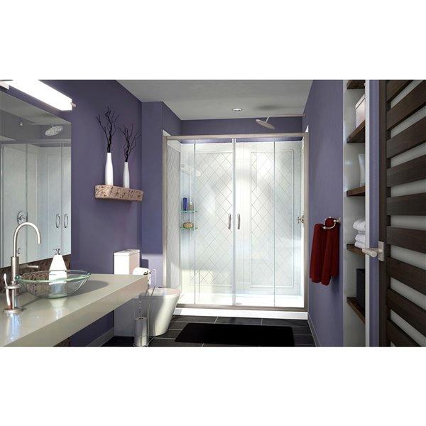 DreamLine Visions Shower Door/Base Kit - 60-in - Nickel