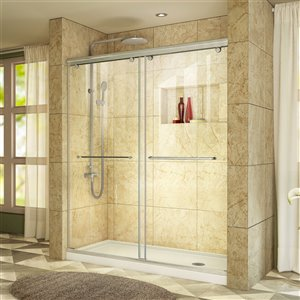 DreamLine Semi-Framed Shower/Base Kit - 60-in - Nickel
