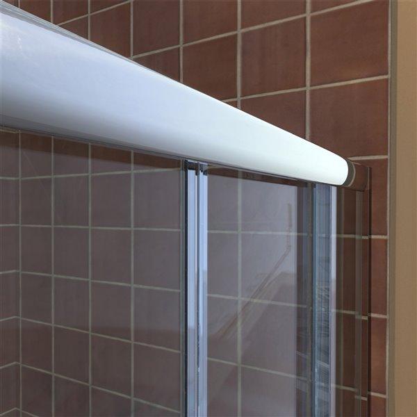 Porte douche double et base de DreamLine Visions, 60 po, Chrome