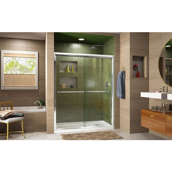 DreamLine Framed Shower Door and Base - 34-in x 60-in - Chrome