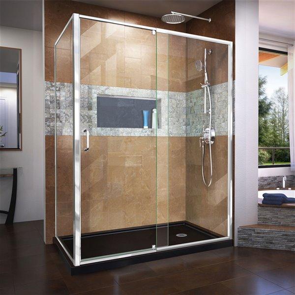 DreamLine Flex Shower Enclosure and Base Kit - 60-in - Chrome
