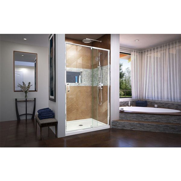 Ensemble de porte de douche de DreamLine Flex, 34 po x 42 po, chrome