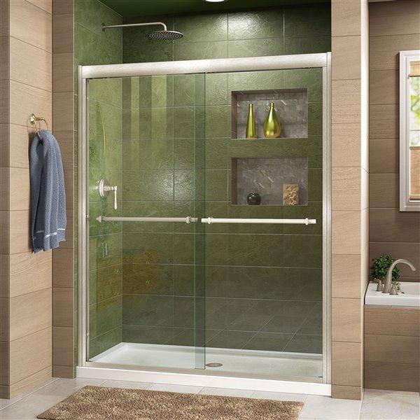 DreamLine Duet Shower Door/Acrylic Base - 30-in x 60-in - Nickel