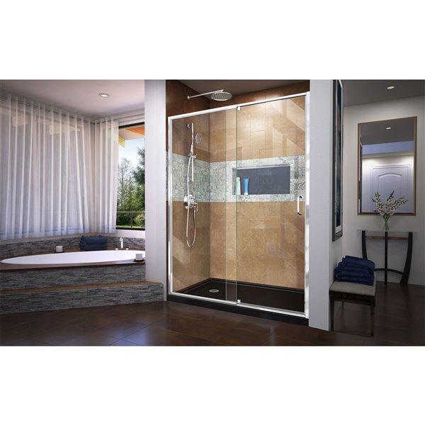 DreamLine Flex Pivot Shower Door/Base - 32-in x 60-in - Chrome