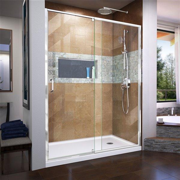 DreamLine Flex Shower Door/SlimLine Base - 32-in x 60-in - Chrome