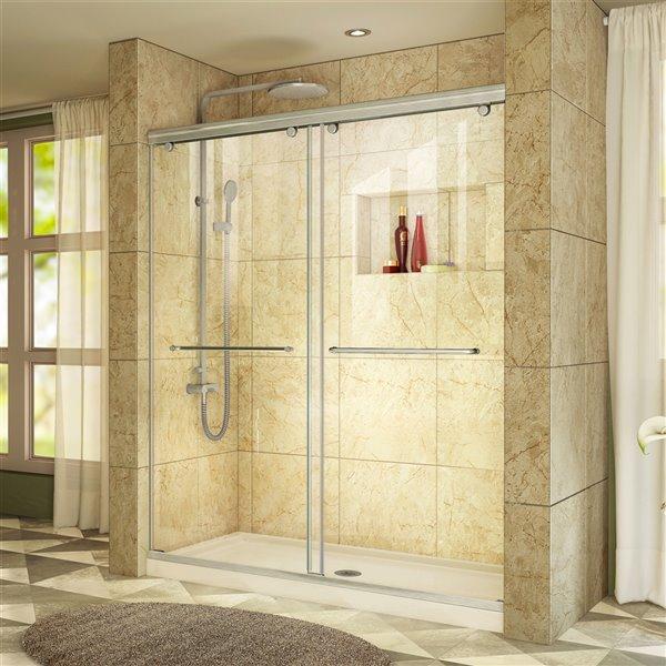 DreamLine Contemporary Shower Door/Base - 60-in - Nickel