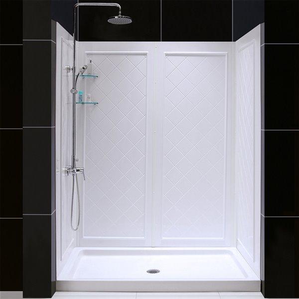 Base de douche et panneaux encadré de DreamLine QWALL-5, 60 po