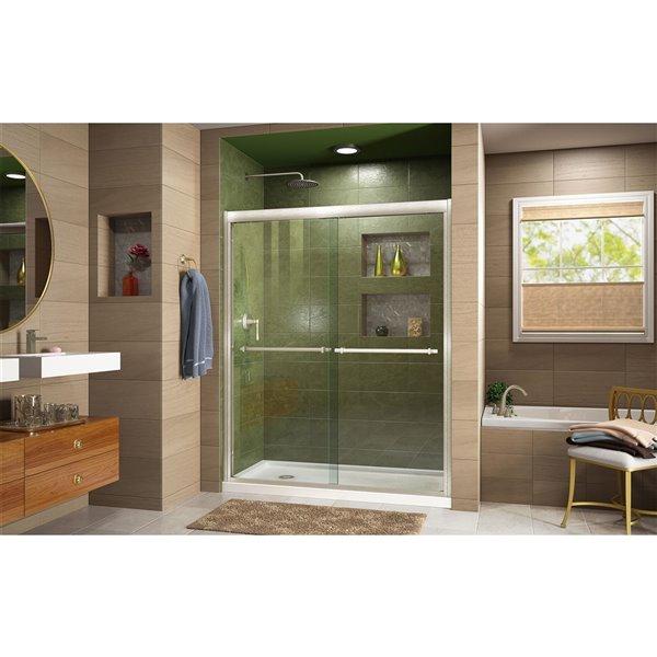 DreamLine Frameless Shower Door/Base - 36-in x 60-in - Chrome