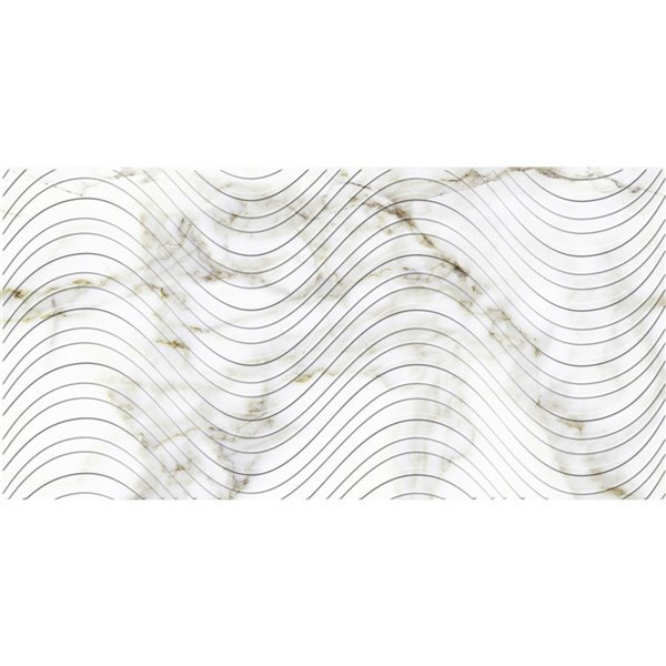 Dundee Deco PVC 3D Wall Panel - Grey and Brown Faux Marble Waves - 3.2-ft x 1.6-ft