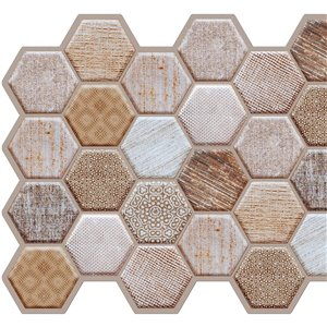 Dundee PVC 3D Wall Panel - Deco Beige, Brown Faux Honeycomb Hexagons - 3.2-ft x 1.6-ft