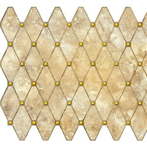 Dundee Deco PVC 3D Wall Panel - Brown Faux Diamond Shapes - 3.2-ft x 1.6-ft