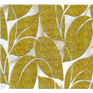 Dundee Deco PVC 3D Wall Panel - Golden and Off-White Faux Leaves - 3.2-ft x 1.6-ft