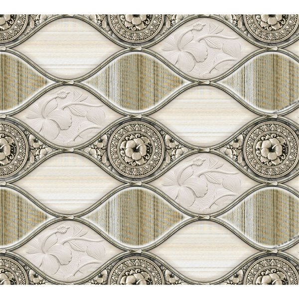 Dundee Deco PVC 3D Wall Panel - Off-White and Silver Faux Waves/Flowers - 3.2-ft x 1.6-ft