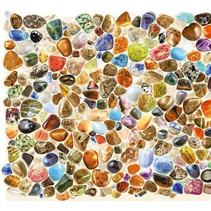 Dundee Deco PVC 3D Wall Panel - Red, Blue, Brown, Orange and Beige Faux Round Stones - 3.2-ft x 1.6-ft