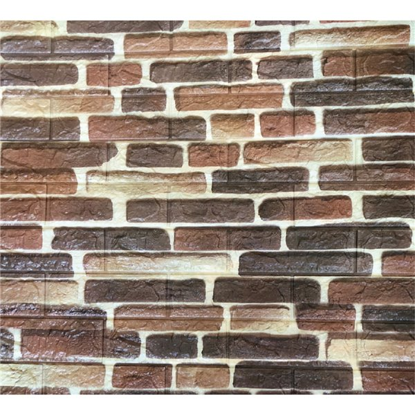 Dundee Deco Peel and Stick 3D Wall Panel - Dark Red, Charcoal and Brown Faux Bricks - Pack of 5
