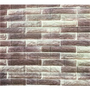 Dundee Deco Peel and Stick 3D Wall Panel - Off-White, Brown Faux Bricks - Pack of 10