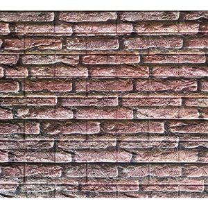 Dundee Deco Peel and Stick 3D Wall Panel - Rouge Rose Faux Bricks - Pack of 10