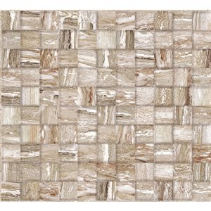 Dundee Deco PVC 3D Wall Panel - Light Brown Faux Stone Mixed Cubes - 3.2-ft x 1.6-ft