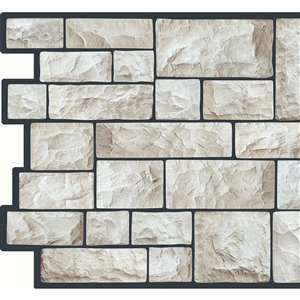 Dundee Deco PVC 3D Wall Panel - Grey Faux Cut Stone - 3.2-ft x 1.6-ft