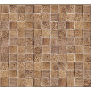 Dundee Deco PVC 3D Wall Panel - All Shades Brown Faux Cubes - 3.2-ft x 1.6-ft