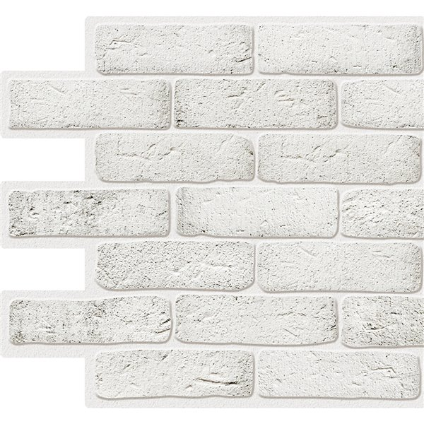 Dundee Deco Pvc 3d Wall Panel White Faux Bricks 3 2 Ft X 1 6 Ft Rona