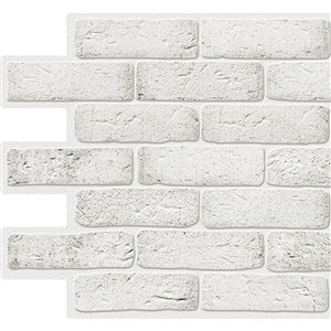Dundee Deco PVC 3D Wall Panel - White Faux Bricks - 3.2-ft x 1.6-ft