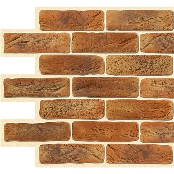 Dundee Deco PVC 3D Wall Panel - Dark Orange Faux Bricks - 3.2-ft x 1.6-ft