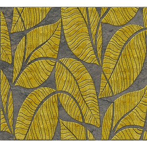 Dundee Deco PVC 3D Wall Panel - Golden and Charcoal Grey Faux Leaves - 3.2-ft x 1.6-ft