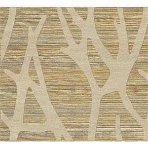 Dundee Deco PVC 3D Wall Panel - Golden Beige and Light Brown Faux Branches - 3.2-ft x 1.6-ft