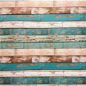 Dundee Deco Peel and Stick 3D Wall Panel - Sepia Tan Teal Faux Distressed Planks - Pack of 10