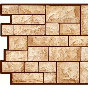 Dundee Deco PVC 3D Wall Panel - Beige Faux Cut Stone - 3.2-ft x 1.6-ft