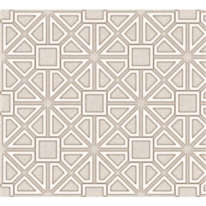 Dundee Deco PVC 3D Wall Panel - Beige Faux Geometric Shapes - 3.2-ft x 1.6-ft