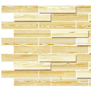 Dundee Deco PVC 3D Wall Panel - Light Yellow Faux Oak Steps 3.2-ft x 1.6-ft