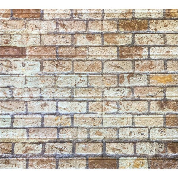 Dundee Deco Peel and Stick 3D Wall Panel - Beige and Brown Faux Bricks
