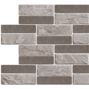 Dundee Deco  PVC 3D Wall Panel - Grey and Charcoal Faux Bricks - 3.2-ft x 1.6-ft