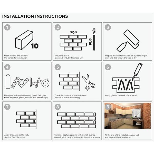Dundee Deco PVC 3D Wall Panel - Beige Faux Bricks - 3.2-ft x 1.6-ft