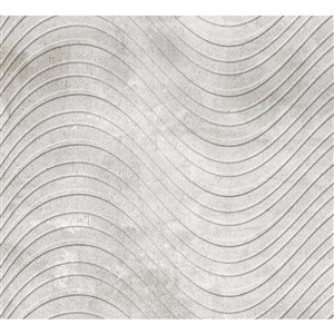 Dundee DecoPVC 3D Wall Panel - Grey Faux Waves - 3.2-ft x 1.6-ft