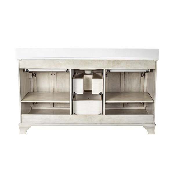 Ensemble meuble-lavabo Corsicana de Foremost, 60 po, blanc antique
