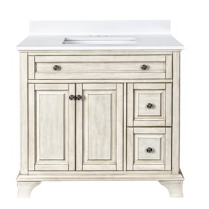 Ensemble meuble-lavabo Corsicana de Foremost, 36 po, blanc antique