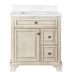 Ensemble meuble-lavabo Corsicana de Foremost, 30 po, blanc antique