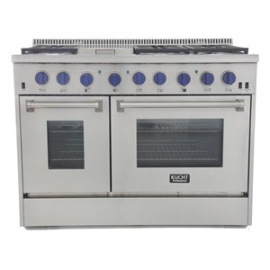 KUCHT 48-in 6.7 cu. ft. Dual Fuel Range for Propane Gas with Royal Blue Knobs